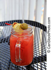 Bloody Mary in a mason jar - Delicious drink of Bloody Mary...