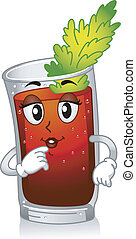 Mascot Illustration Featuring a Glass of Bloody Mary