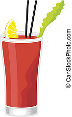 Bloody Mary cocktail in highball glass with celery and slice of lemon