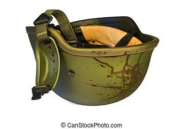 Bloody military helmet isolated