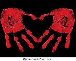 Bloody palms print