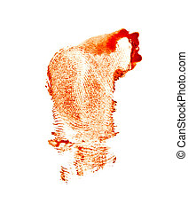 Bloody red fingerprint isolated on white background