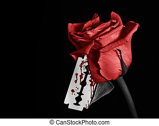 Bloody Rose - A image of a rose with a bloody razor blade