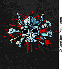 Bloody skull in helmet with horns and bones