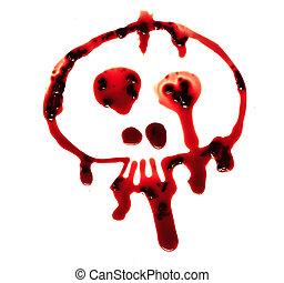 Bloody skull on white background