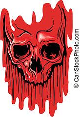 skull image on bloodstain