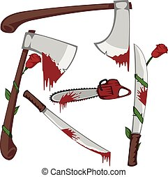 Variations of bloody axes, machetes and a chainsaw