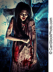 bloody witch - Bloodthirsty zombi standing at the night...