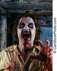 Bloody zombie - Photo of a hungry zombie about to attack...