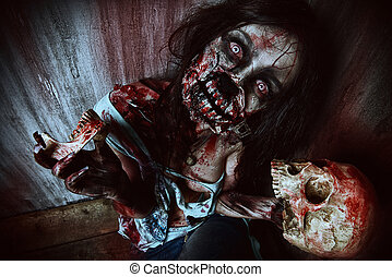 bloody zombie - Frightening bloody zombie girl with a skull....