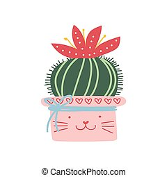 Blooming actus Plant Growing in Pink Pot, Design Element for Natural Home Interior Decoration Vector Illustration