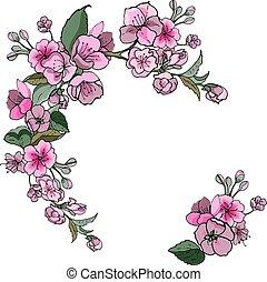 Blooming Apple tree, frame of flowers.