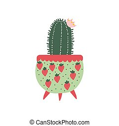Blooming Cactus House Plant Growing in Cute Flowerpot, Design Element for Natural Home Interior Decoration Vector Illustration