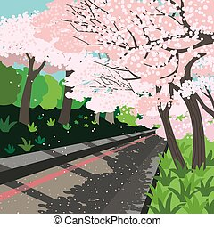 Blooming cherry trees garden path vector poster