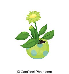 Blooming flower in a pot vector illustration