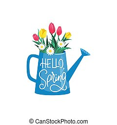 Blooming flowers in watering can with hello spring text ...