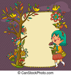 blooming frame - frame with flowers, tree and a cheerful...