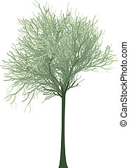 blooming green tree, vector - detailed green tree...