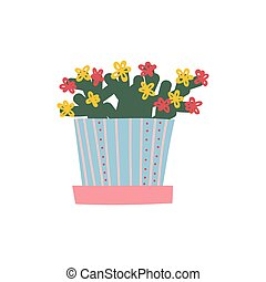 Blooming House Plant Growing in Flowerpot, Design Element for Natural Home Interior Decoration Vector Illustration
