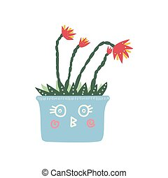 Blooming House Plant in Cute Light Blue Pot, Design Element for Natural Home Interior Decoration Vector Illustration