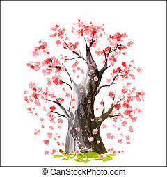 Blooming Japanese cherry tree - Stylized Blooming Japanese...