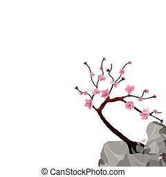 Blooming Japanese Sakura. Pink cherry tree on a cliff. Isolated on white background. illustration
