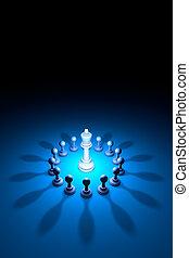 Blooming King (chess metaphor). 3D rendering  illustration
