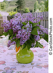blooming lilac in a vase