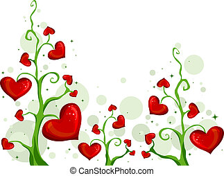 Blooming Love - Illustration of Vines with Heart-shaped...