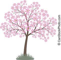 Blooming pink flowers spring tree. Vector image.