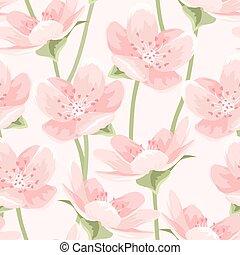 Blooming pink sakura magnolia seamless pattern - Seamless...