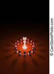 Blooming Queen (chess metaphor). 3D rendering illustration
