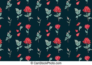 Blooming red rose pattern vector background