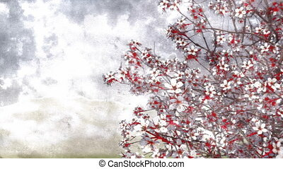Blooming sakura cherry watercolor art style - Lush blooming...