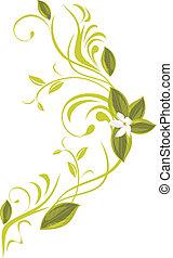 Blooming sprig. Vector illustration