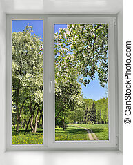 Blooming spring trees under the window