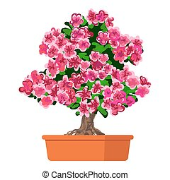 Blooming tree Azalea. - Vector illustration plant in pot