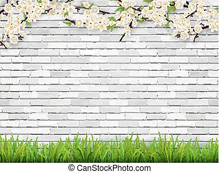 Blooming tree branch on white brick wall background