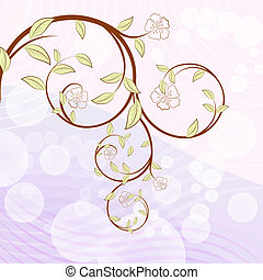 Blooming tree branch with flowers vector illustration.