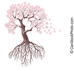 blooming tree - spring tree with pink blossoms