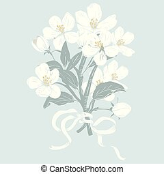 Blooming tree. Hand drawn botanical white blossom branches bouquet on blue background. Vector illustration