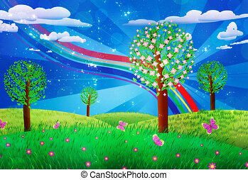 Blooming tree on grass field - Fantasy landscape with...