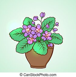 Blooming violets in a flowerpot on a green background. Hand...