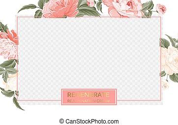 bloomings., ピンク, クリーム, skincare, デザイン, 上に, ボーダー, デザイン, border., シャクヤク, テンプレート, プロダクト, 透明, 花, 花, 美しさ, パッケージ, 再生しなさい, ラベル, カバー, 窓