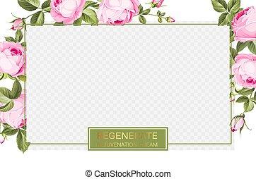 bloomings., rosa, crema, fiore, skincare, disegno, sopra, bordo, tropicale, disegno, border., sagoma, prodotto, trasparente, fiore, bellezza, pacchetto, rigenerare, etichetta, rosa, coperchio, finestra
