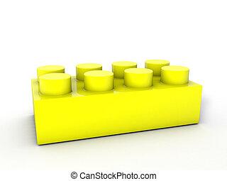 bloque, amarillo, lego