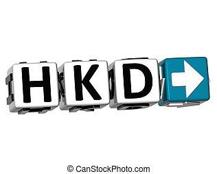 bloque, clic, texto, hkd, dólar, moneda, botón, hong, 3d, aquí, kong