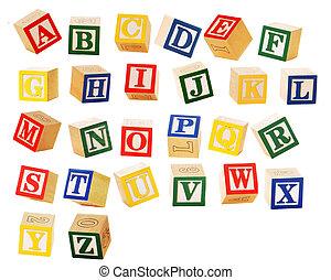 bloque de alfabeto, cartas