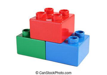 bloque, juguete, pirámide
