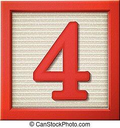 bloque, número 4, rojo, 3d